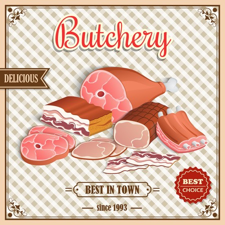 grill meat: Meat label best choice retro butchery poster on squared background vector illustration