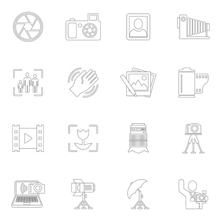 Photography equipment camera photo editing downloading icons outline isolated vector illustration Vector