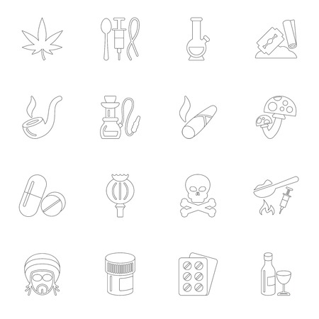 addictive: Abuse addictive poison mushroom drugs icons outline set isolated vector illustration