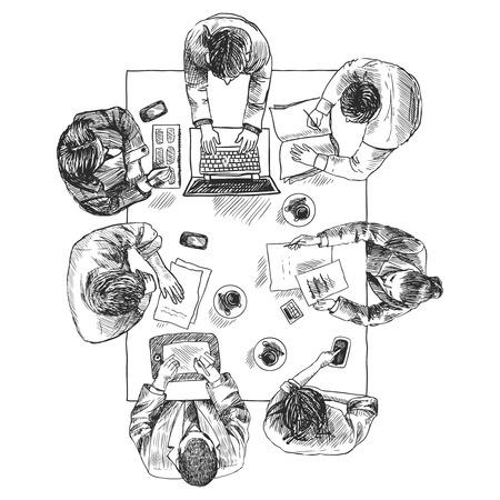 Zakelijke bijeenkomst begrip bovenaanzicht mensen zitten op vierkant tafel schets vector illustratie Stock Illustratie