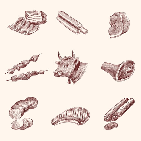 pork: Meat food decorative icons set of cow ham fillet sketch isolated vector illustration Illustration