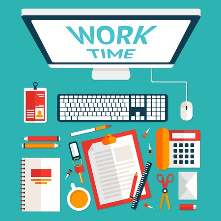 Top view on classic office workplace desk with computer and stationery vector illustration Vector