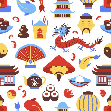 great wall: China travel chinese traditional culture symbols seamless pattern vector illustration