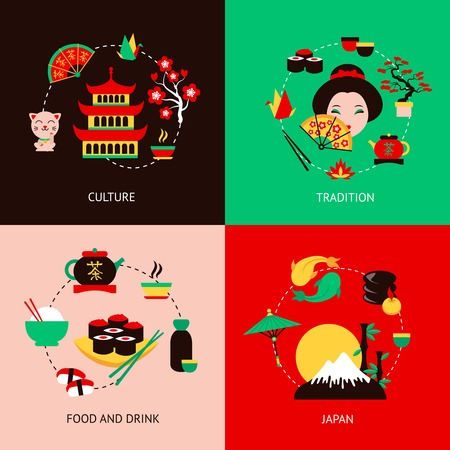 japan culture: Japan culture tradition food and drink flat set isolated vector illustration