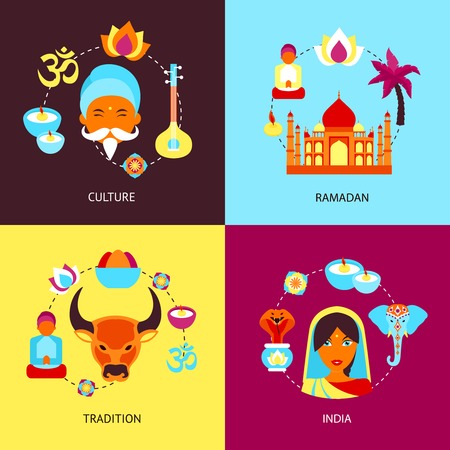 India culture ramadan tradition flat set isolated vector illustration Vector