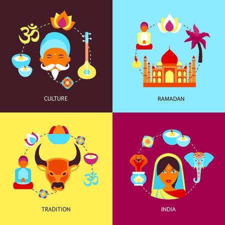 tourism industry: India culture ramadan tradition flat set isolated vector illustration Illustration