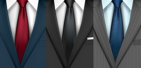 Businessman boss black modern style classic office suit collection with shirt and colored tie vector illustration Illustration