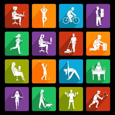 actividad fisica: Iconos planos de actividad física establecen con el funcionamiento de pie hablando la gente aislada ilustración vectorial