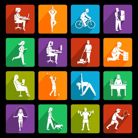 physical activity: Physical activity flat icons set with running walking talking people isolated vector illustration
