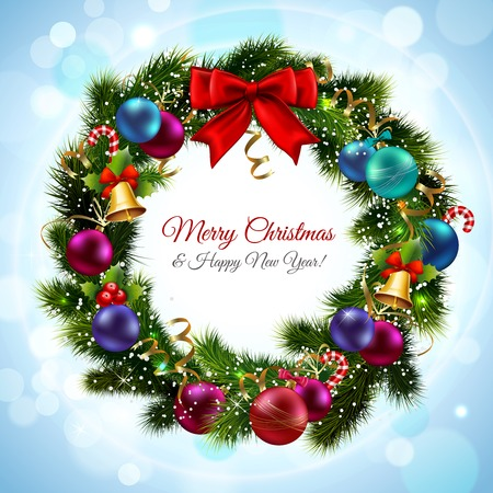 Merry christmas and happy new year greeting postcard with green wreath vector illustration
