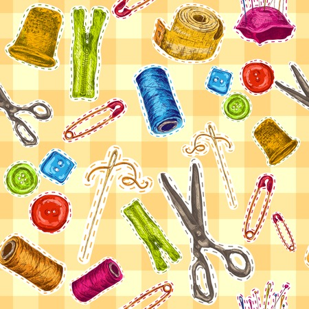 clothes pin: Sewing dressmaking and needlework accessories sketch seamless pattern vector illustration