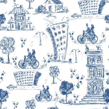 Doodle city blue sketch seamless pattern with buildings trees and bicyclists vector illustration Vector