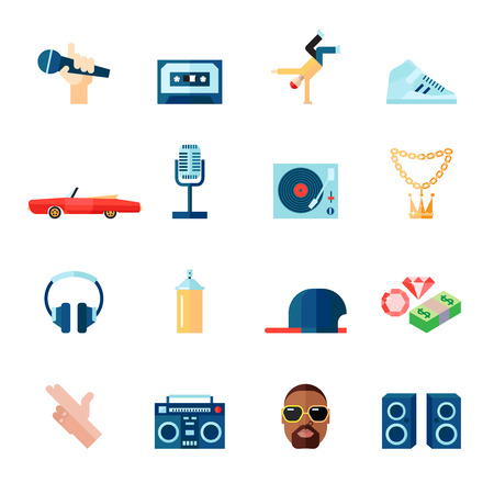 hips: Rap hip-hop singing music flat icons set isolated vector illustration