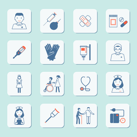 hospital sign: Nurse health care medical hospital service icons set isolated vector illustration