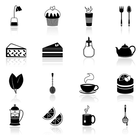 Tea icons black set with honey jar teapot teabag isolated vector illustration Vector