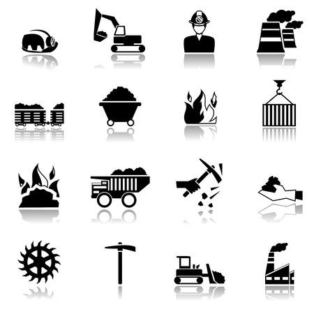 cinta transportadora: Iconos negros maquinaria de la industria minera del carbón fábrica conjunto aislado ilustración vectorial
