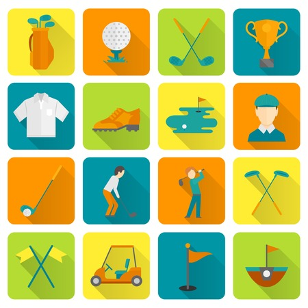 Golf cup bag championship course icons set isolated vector illustration Vector