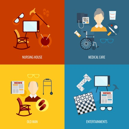 network people: Pensioners life flat icons set of nursing house medical care old man entertainments isolated vector illustration