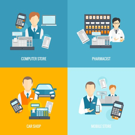 cash register: Salesman icons flat set isolated with computer mobile store pharmacist car shop vector illustration Illustration