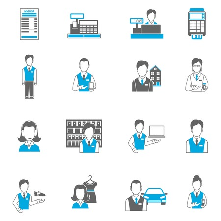pharmacist: Salesman icons flat set isolated with pharmacist car dealer cash terminal isolated vector illustration