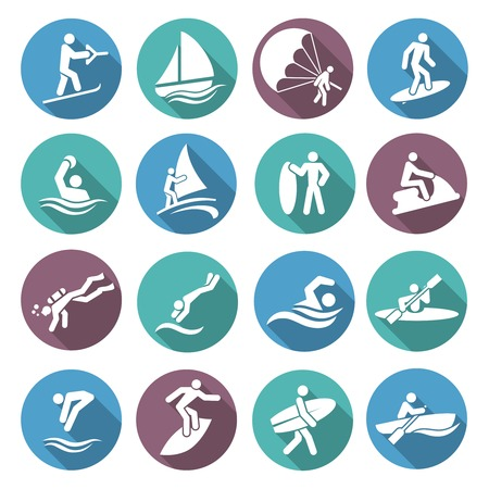 Water sports white icons set with diving sailing windsurfing people isolated vector illustration Vector