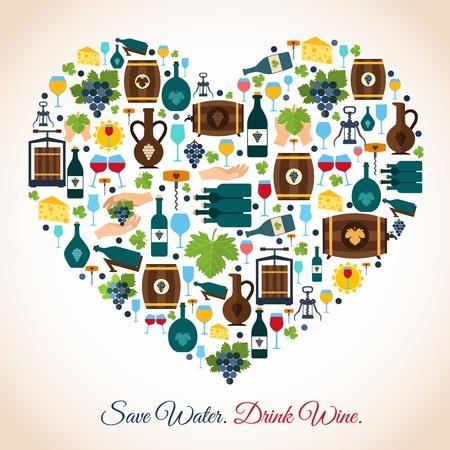 ahorrar agua: Beber vino ahorro de agua iconos decorativos ilustración vectorial corazón Vectores