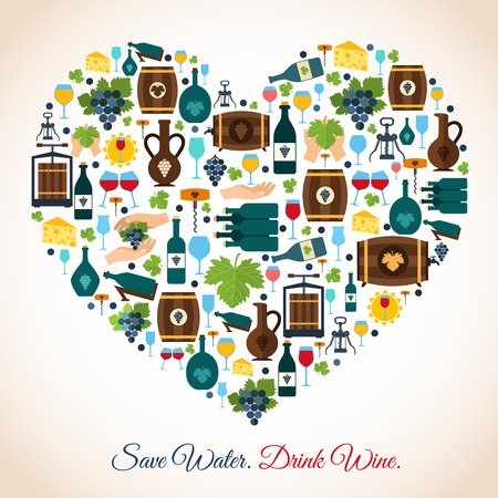 glass water: Drink wine save water decorative icons heart vector illustration Illustration