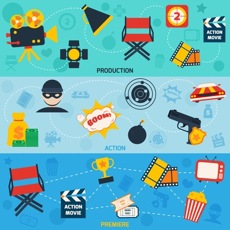 tvset: Action movie cinema production premiere flat compositions isolated vector illustration