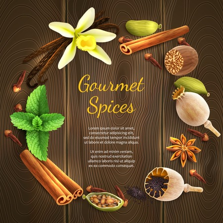 spices: Confectionery gourmet spices food product decorative elements on dark wooden background vector illustration Illustration