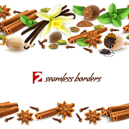 nutmeg: Confectionery spices delicious flavors decorative elements seamless borders vector illustration