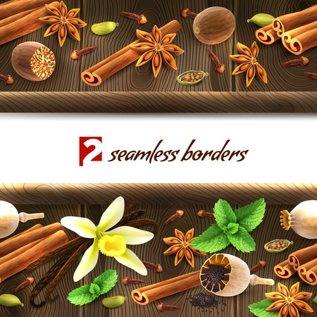 allspice: Confectionery spices on dark wooden seamless borders vector illustration