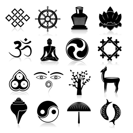 Buddhism yoga oriental traditional symbols icons black set isolated vector illustration Illustration
