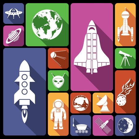 flying saucer: Space and astronomy flat icons set with rocket spaceman flying saucer isolated vector illustration