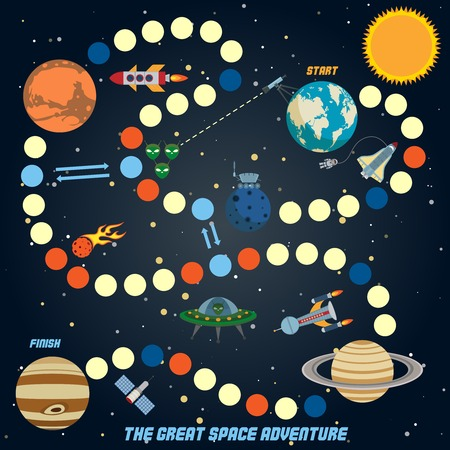 Space quest game with start finish and astronomy icons on background vector illustration Ilustração
