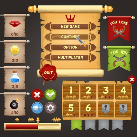 computer game: Arcade game menu interface design template vector illustration