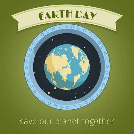 Earth day poster with globe in illuminator and ribbon banner vector illustration Vector