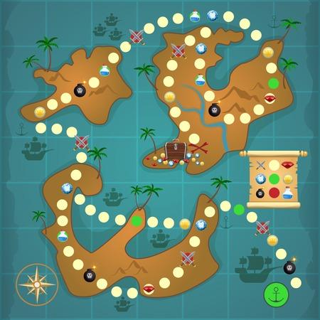 Pirate treasure island map game puzzle template vector illustration. Vettoriali