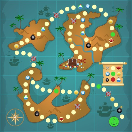 Pirate treasure island map game puzzle template vector illustration. Ilustracja