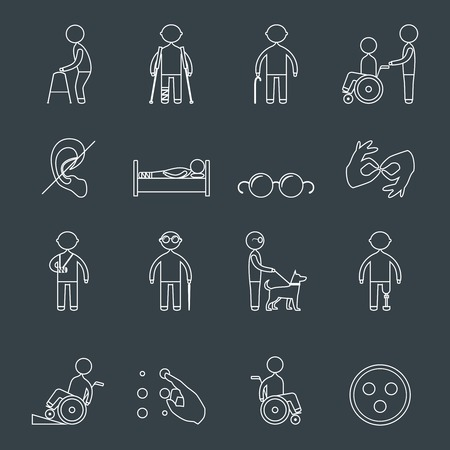 Disabled people outline icons set of wheelchair blind deaf man isolated vector illustration