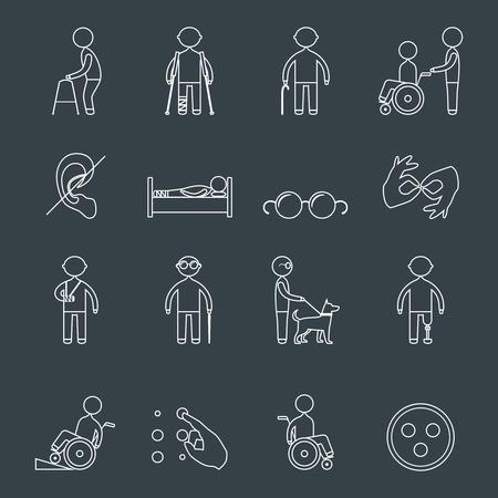 Les personnes handicapées définissent ensemble d'icônes de fauteuil roulant aveugle sourd homme isolé illustration vectorielle