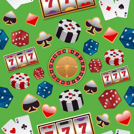 Casino color design elements with gambling poker roulette seamless pattern vector illustration Vector