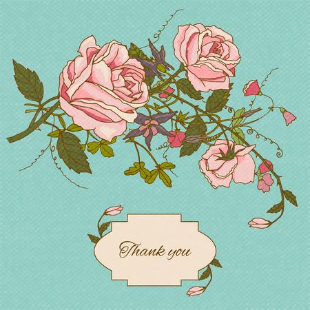 gratitudine: Vintage grazie nostalgico messaggio di ringraziamento carta nota con rose giardino cottage fiori schizzo illustrazione di colore vettoriale
