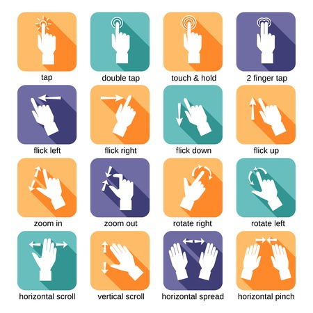touch down: Touch screen interface hand gestures flat icons set isolated vector illustration Illustration