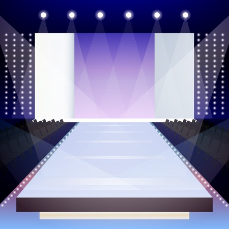 stage door: Empty illuminated fashion runway scene designer presentation poster vector illustration Illustration