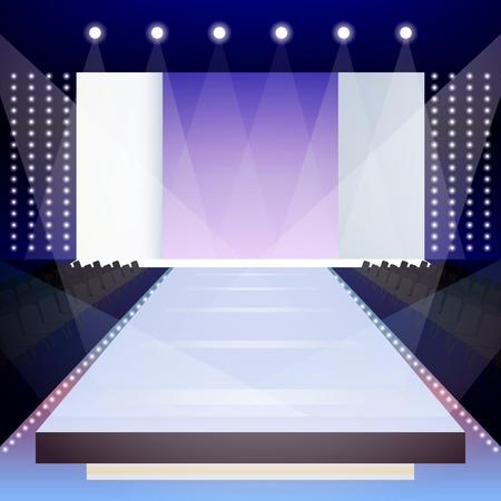 Lege verlichte fashion runway scene ontwerper presentatie poster vector illustratie