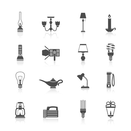 Flashlight and lamps light and illumination equipment icons black set isolated vector illustration Vector