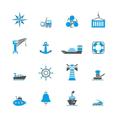 Sea port marine journey and shipping freight icons set isolated vector illustration Vector