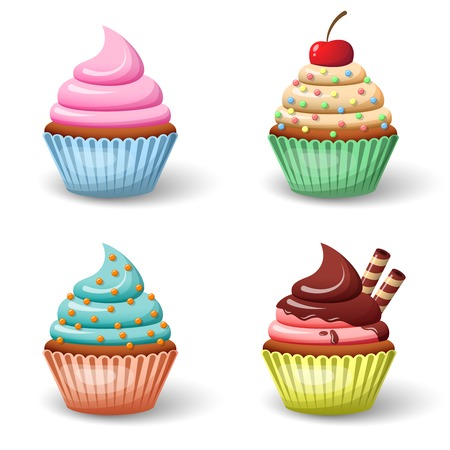 Sweet food chocolate creamy cupcake set isolated vector illustration Çizim