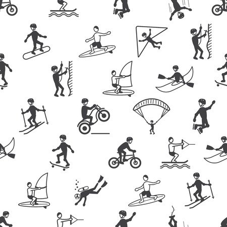 Extreme sports seamless pattern of diving climbing sailing people vector illustration Vector