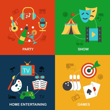 Entertainment flat icon composition set isolated vector illustration Vector